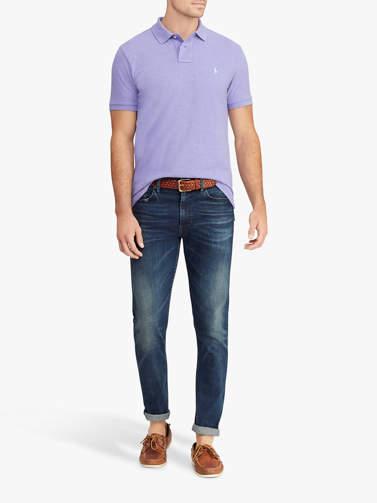 BuyPolo Ralph Lauren Short Sleeve Custom Slim Fit Mesh Polo Shirt, Purple Heather, S Online at johnlewis.com