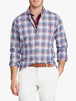 Polo Ralph Lauren Slim Fit Poplin Shirt, Firebrick/Navy