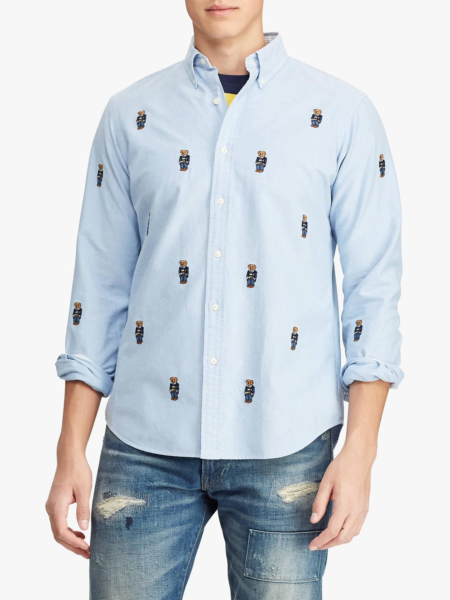 531e9e18 Buy Polo Ralph Lauren Bear Oxford Shirt, Blue, S Online at johnlewis.com ...