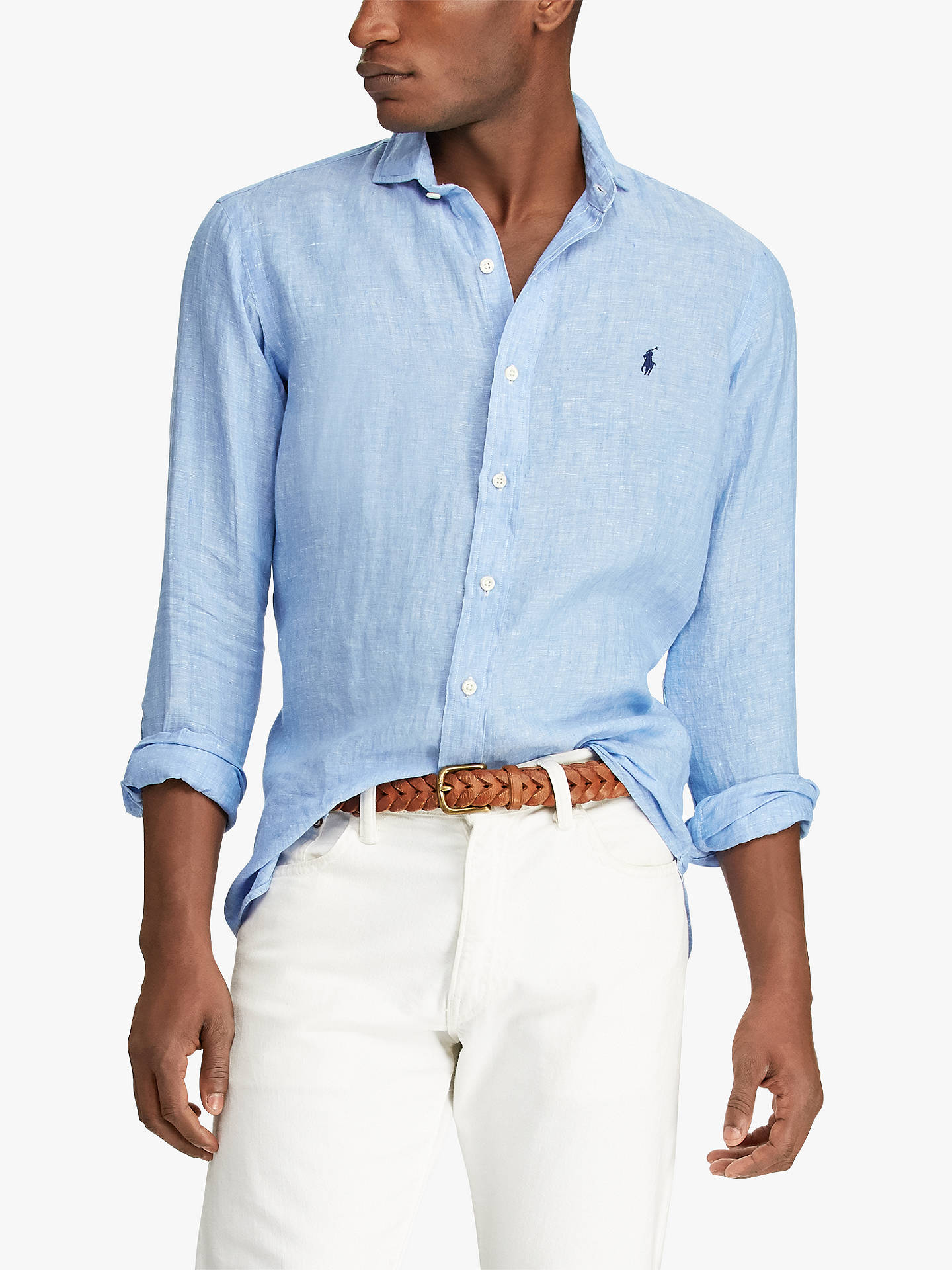 85481133 Buy Polo Ralph Lauren Linen Long Sleeve Shirt, Blue/White, M Online at ...