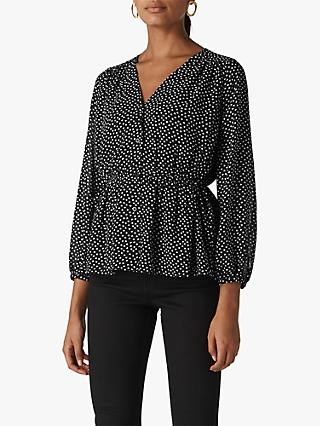 Whistles Confetti Heart Print Top, Black/White