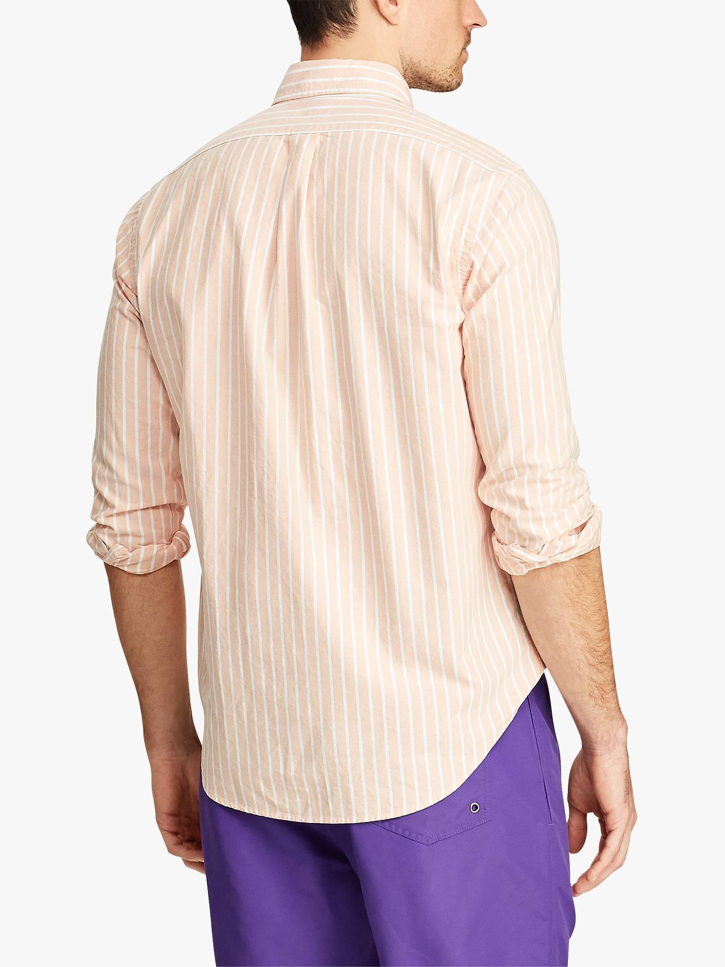 e3a71acb ... Buy Polo Ralph Lauren Slim Fit Striped Oxford Shirt, Tangerine/White, S  Online ...