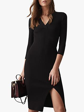Reiss Aletti V-Neck Rib Knit Dress, Black