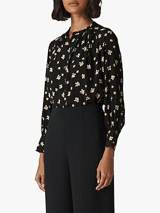 Whistles Edelweiss Print Blouse, Black/Multi