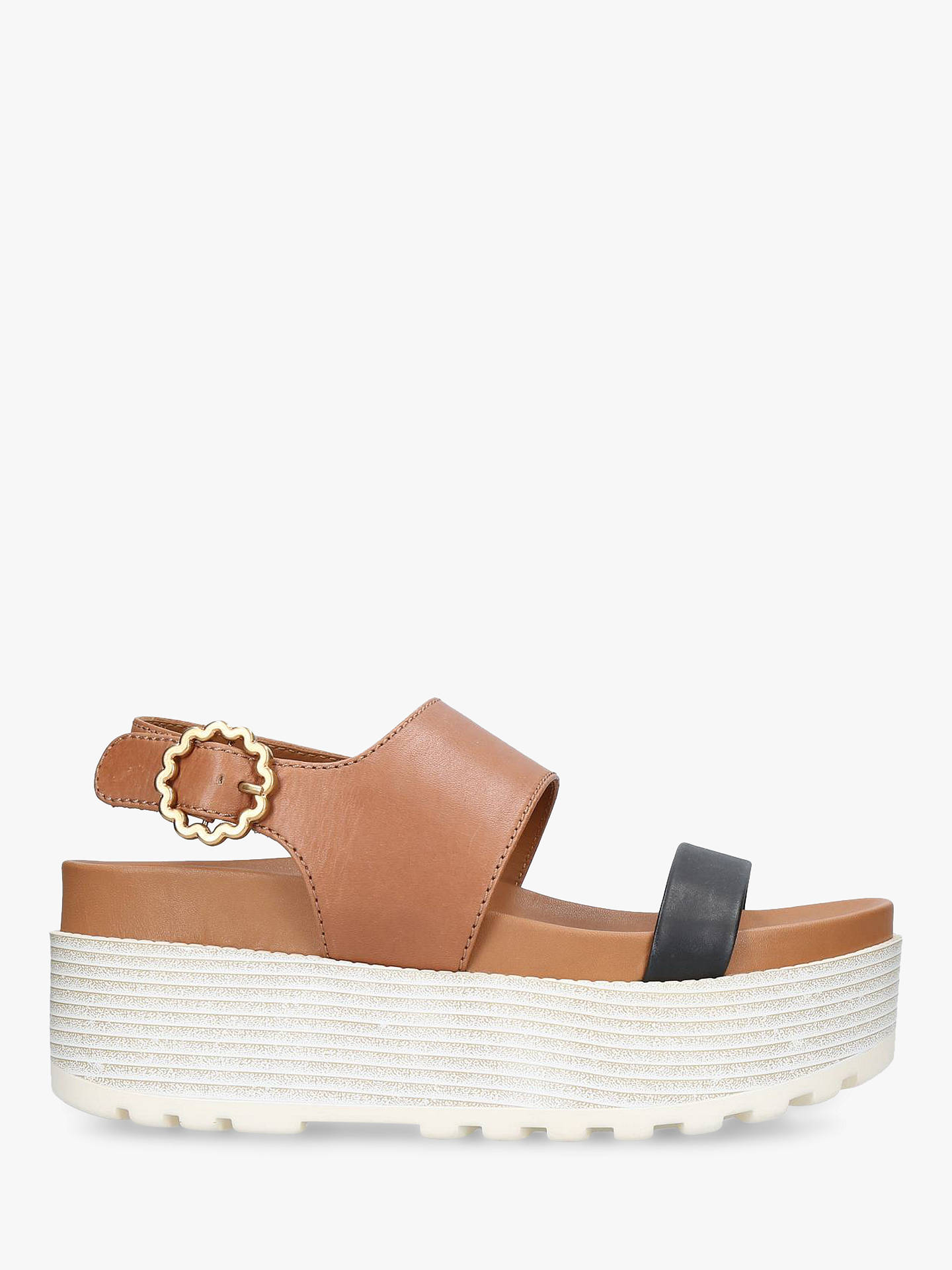 Buy See By Chloé Leather Buckle Detail Flatform Sandals, Black/Beige, 5 Online at johnlewis.com