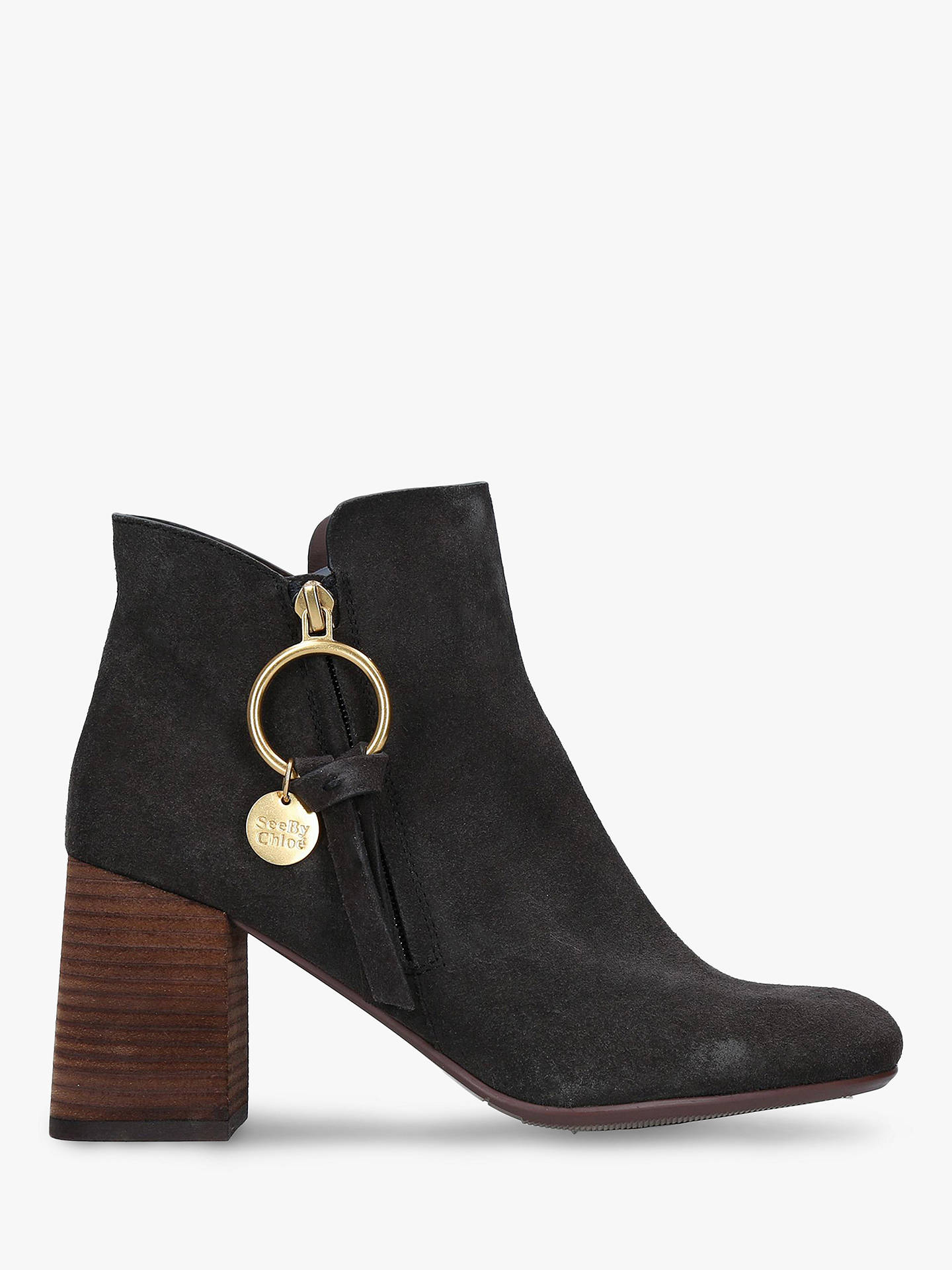 f67964768f4 See By Chloé Zip Charm Ankle Boots, Black Leather at John Lewis ...