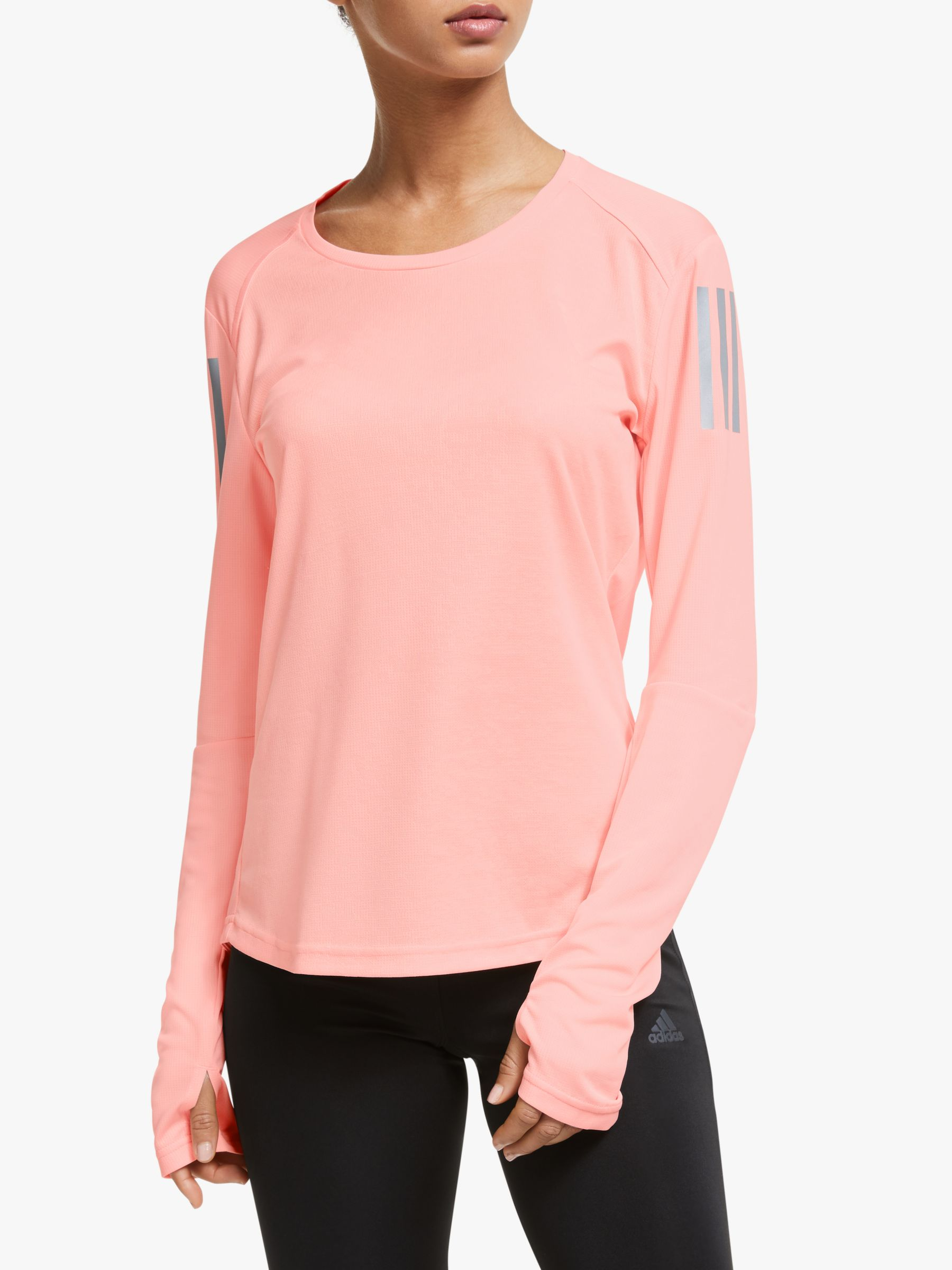 Canberra pronóstico China  adidas Own The Run Long Sleeve Running Top, Glow Pink at John Lewis &  Partners