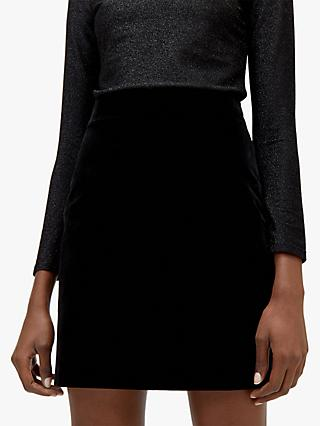 Warehouse Velvet Pelmet Skirt, Black