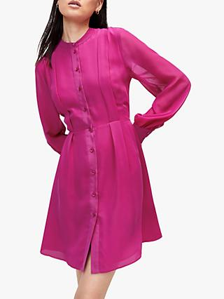 Warehouse Pleat Shirt Dress, Magenta