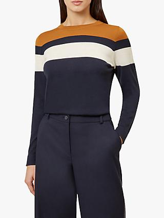 Hobbs Kerri Colour-Block Jumper, Navy/Multi