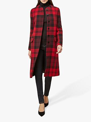 Hobbs Lavinia Check Coat, Red/Black