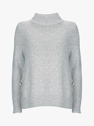 Mint Velvet Split Side Boxy Knit, Light Grey
