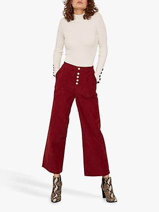 Mint Velvet Button Cord Culotte Trousers, Dark Red