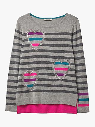 White Stuff Sparkle Heart Stripe Jumper, Grey Multi