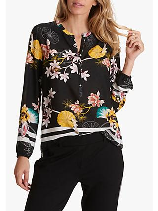 Betty Barclay Floral Print Blouse, Black/Yellow