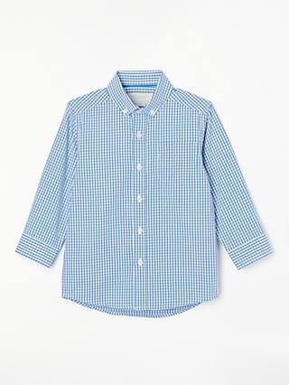 cc45432c John Lewis & Partners Heirloom Collection Boys' Gingham Shirt, Blue