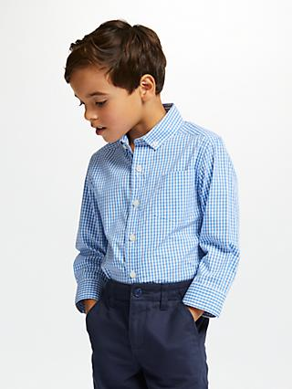 John Lewis & Partners Heirloom Collection Boys' Gingham Shirt, Blue