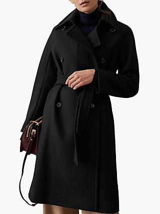 Reiss Eilish Button Detail Double Breasted Coat, Black