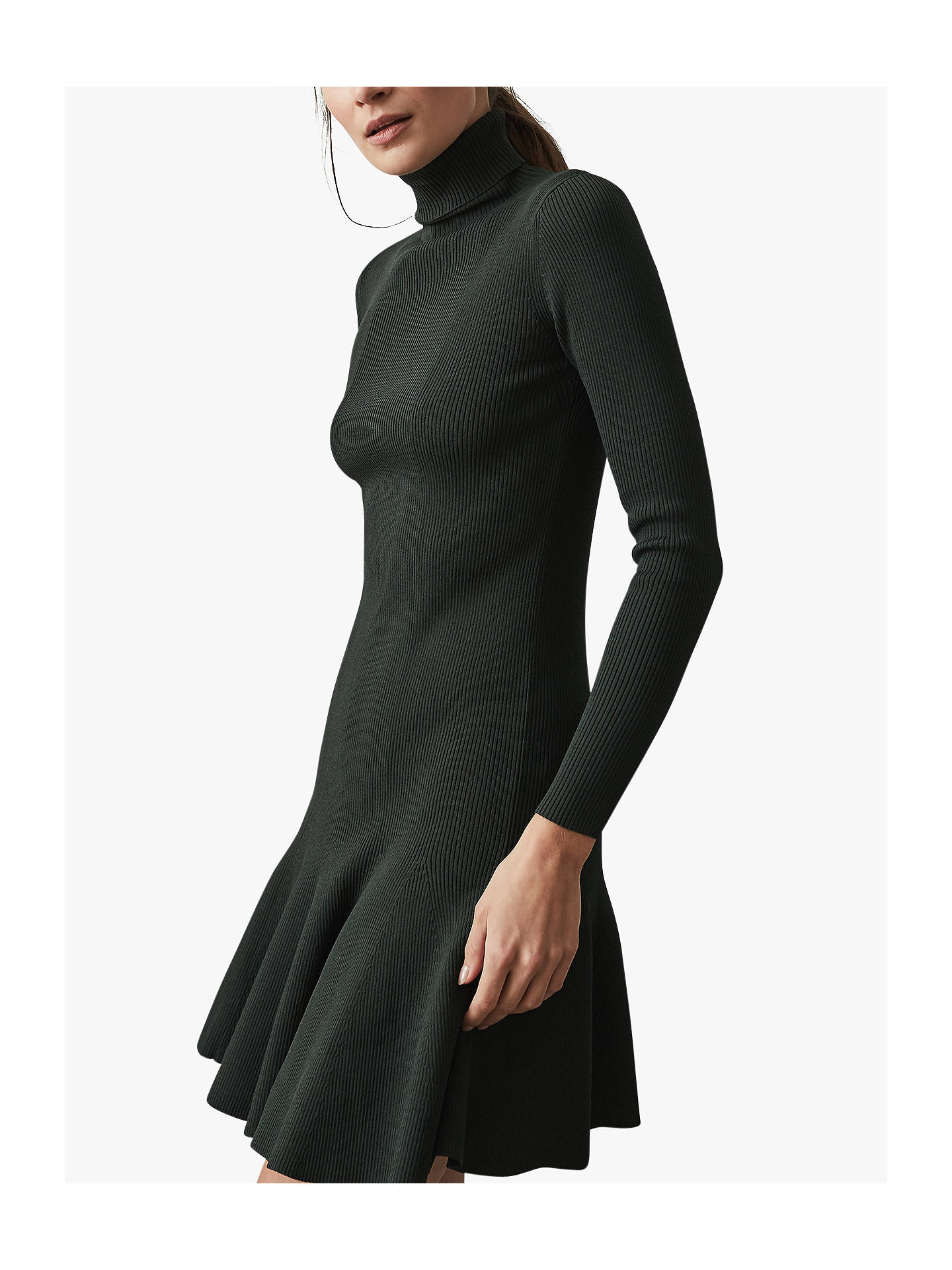 982d6d4b95 ... Buy Reiss Mimi Flippy Hem Dress, Dark Green, XS Online at johnlewis.com  ...