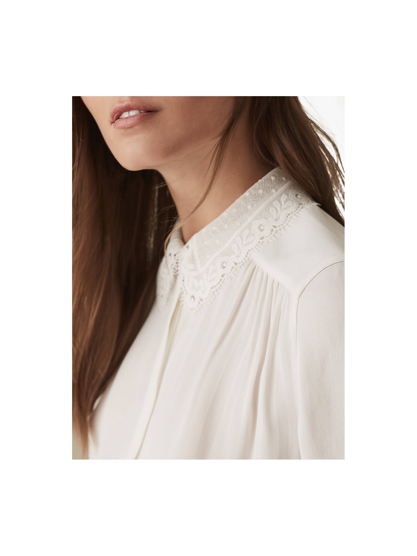 Buy Reiss Kita Lace Collar Shirt, Ivory, 10 Online at johnlewis.com