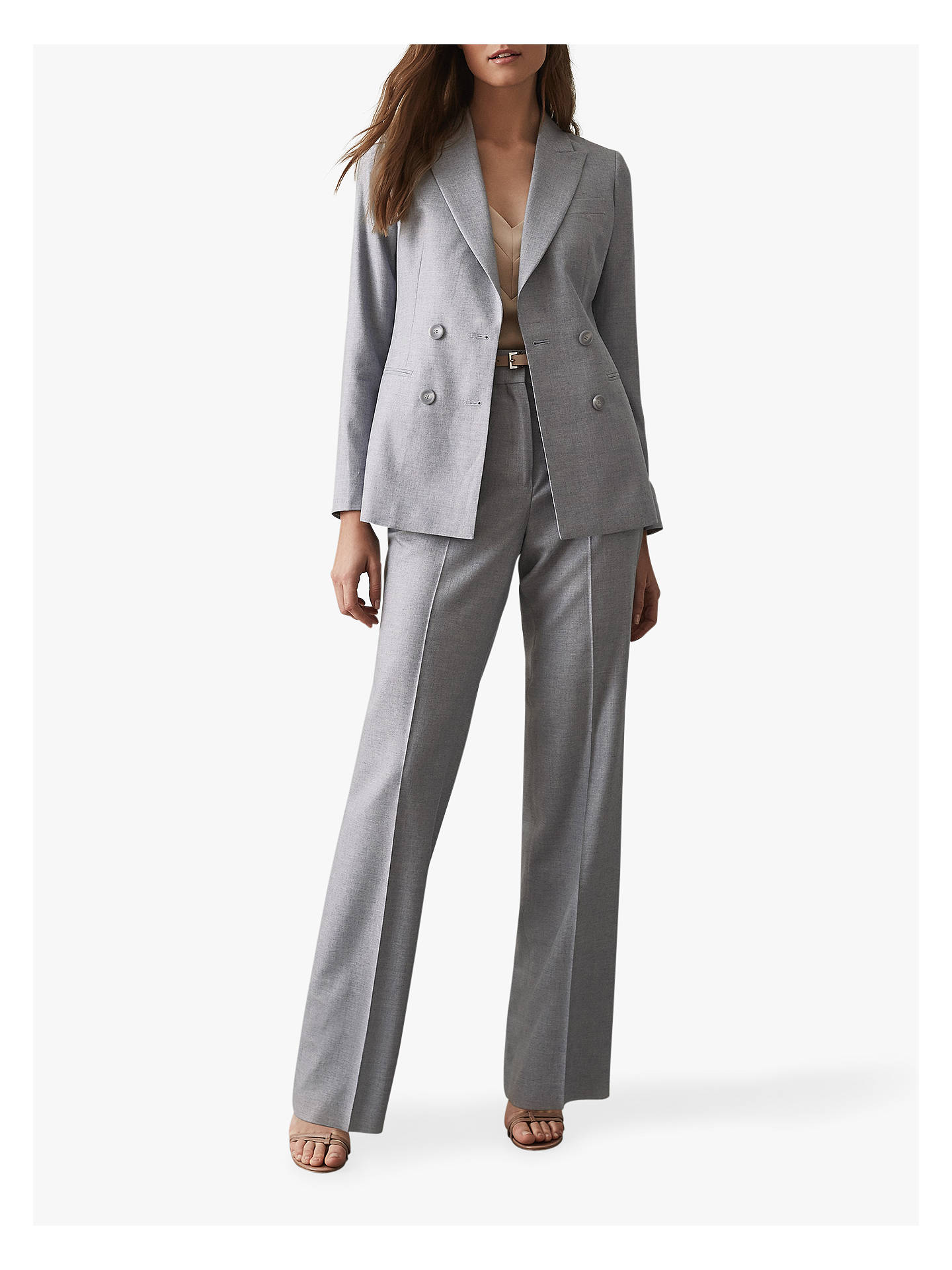 BuyReiss Essie Wide Leg Tailored Trousers, Light Blue, 6 Online at johnlewis.com