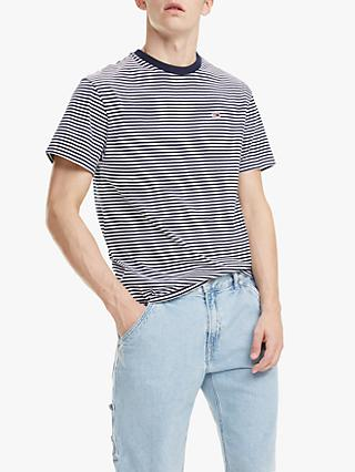 766300f477 Tommy Jeans Short Sleeve Classic Stripe T-Shirt, Black Iris/White