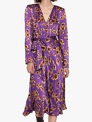 Ghost Meryl Floral Satin Tie Waist Dress, Smudge Botanica