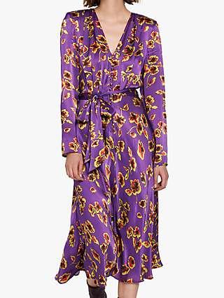 Ghost Meryl Floral Satin Tie Waist Dress, Smudge Botanica