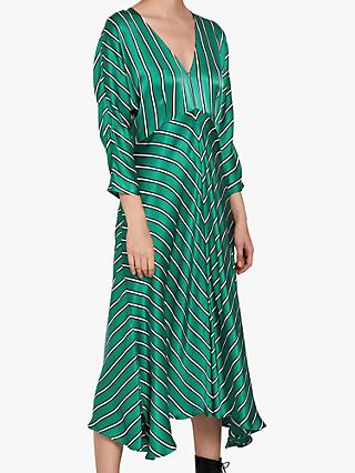 Ghost Georgia Pinstripe Satin Dress, Green