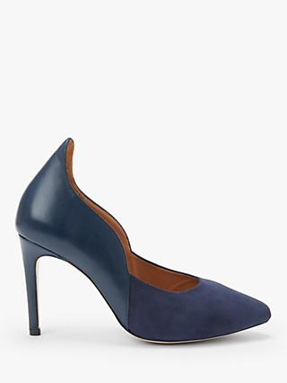 Sargossa Decision Curved Court Shoes, Navy Leather