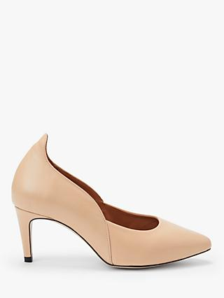 Sargossa Destiny Curved Court Shoes, Beige Leather