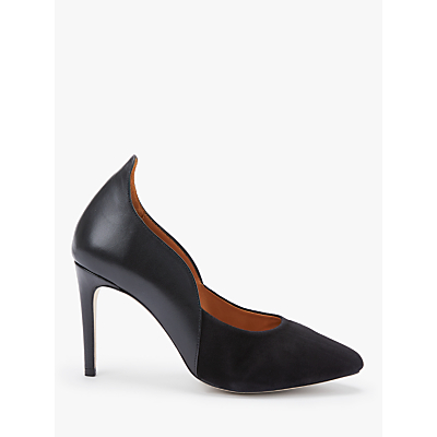 Sargossa Decision Curved Court Shoes, Black Leather
