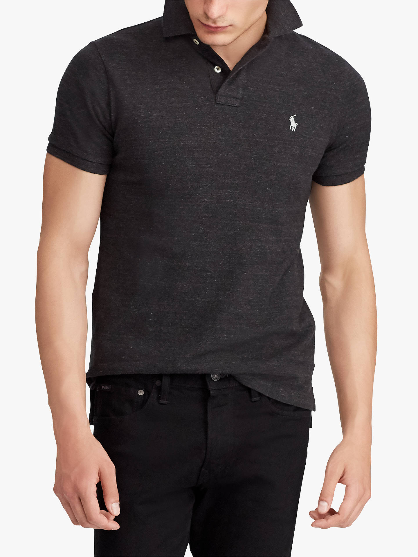 6170a28c Buy Polo Ralph Lauren Custom Slim Fit Mesh Polo Shirt, Black Marl Heather,  S ...