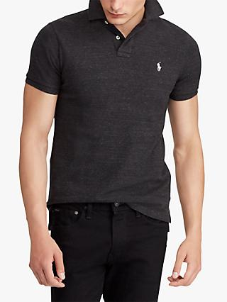 Polo Ralph Lauren Custom Slim Fit Mesh Polo Shirt, Black Marl Heather