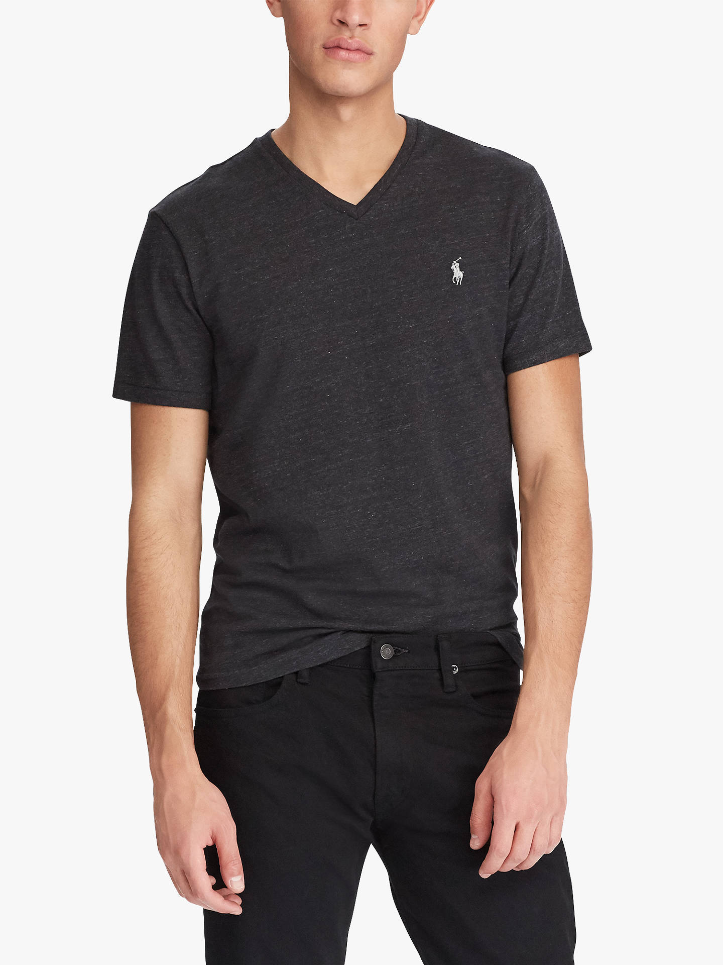 f84128a1 Polo Ralph Lauren V-Neck T-Shirt, Black Marl Heather at John Lewis ...