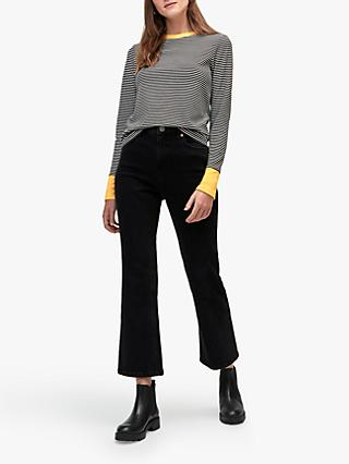 Warehouse Contrast Cuff Striped Top, Mustard