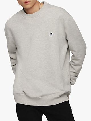 Diesel S-Link Mohawk Logo Cotton Sweatshirt, Grey