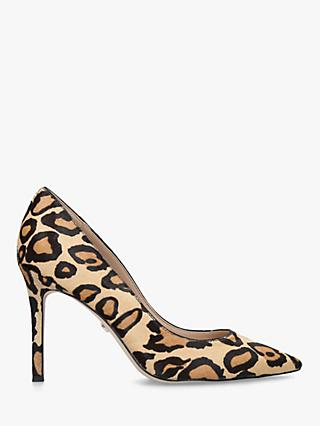 Sam Edelman Hazel Leopard Stiletto Heel Court Shoes, Natural
