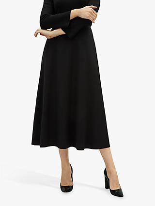Jaeger Long A-Line Midi Skirt, Black