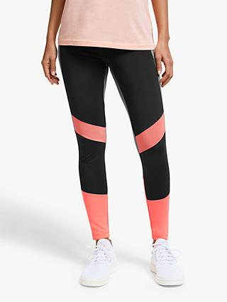 adidas Design 2 Move Colorblock High-Rise 7/8 Training Tights, Black/Semi Coral