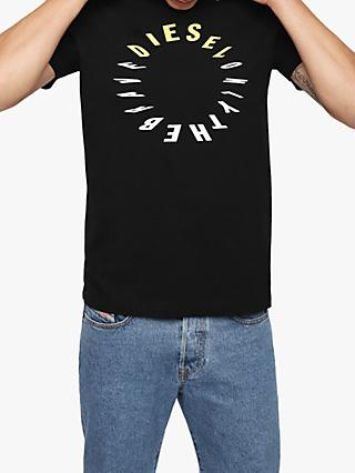 ed26928e3ee Diesel Logo Print Crew Neck T-Shirt
