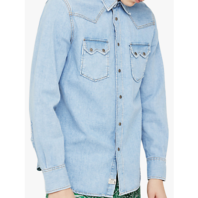 Diesel Western Denim Long Sleeve Slim Fit Shirt, Light Blue Denim