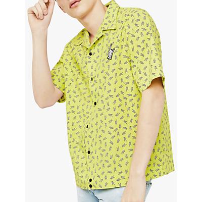 Diesel S-Friday-Hand Print Short Sleeve Shirt, Yellow