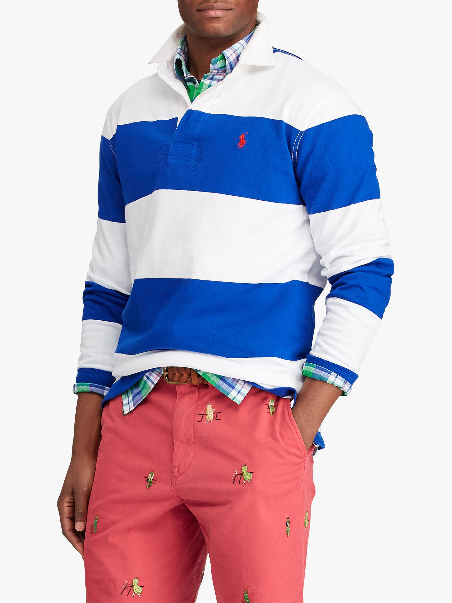 847ad8a839c Buy Polo Ralph Lauren Long Sleeve Stripe Rugby Shirt, Saphire/Oxford, L  Online ...