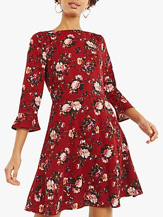 Oasis Rose Floral Skater Dress, Red