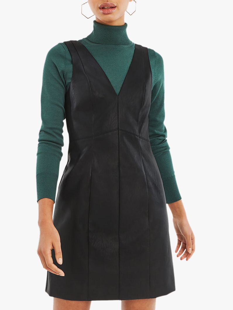 db4ac334052b Oasis Holly Faux Leather Dress, Black at John Lewis & Partners