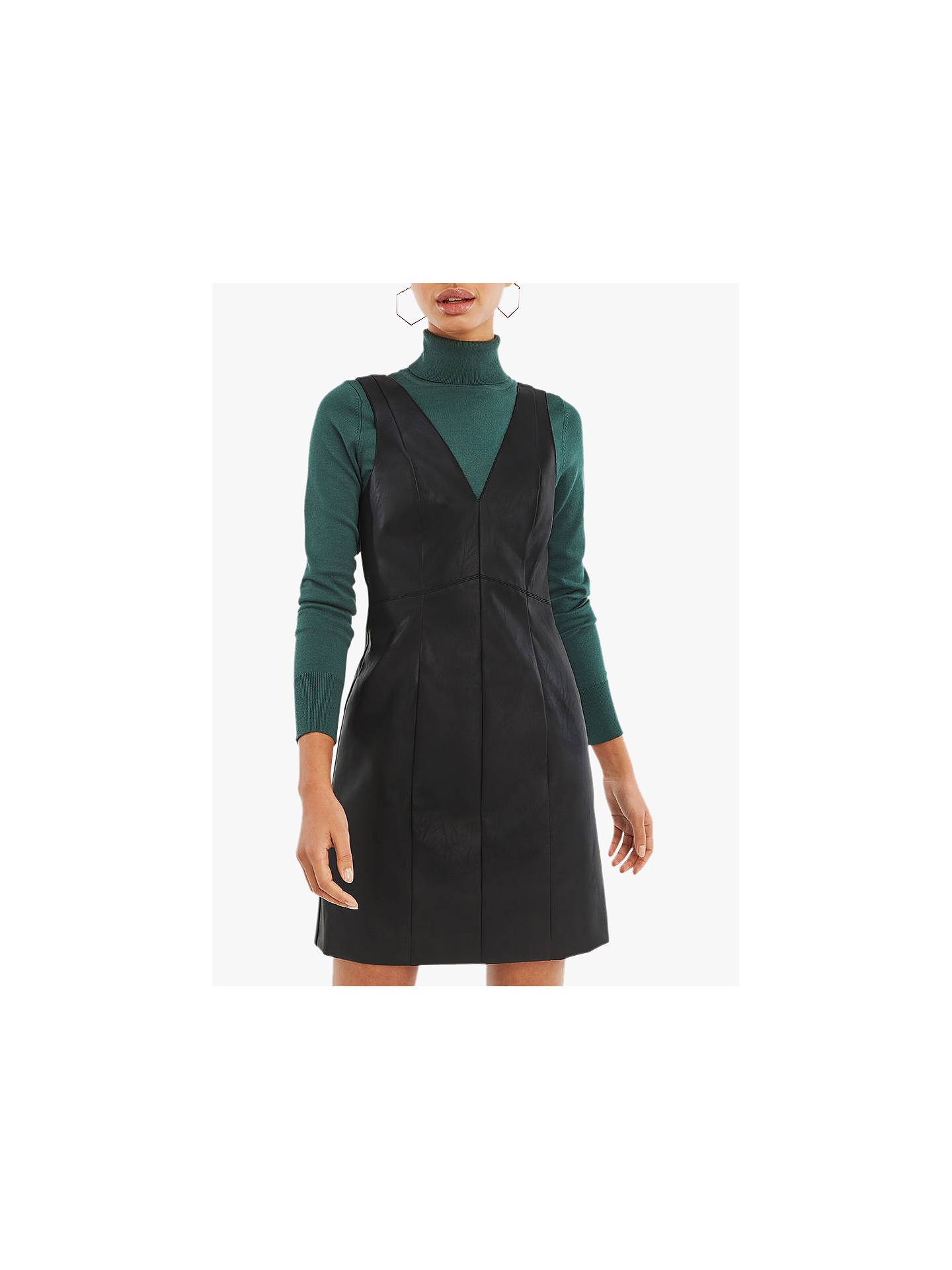 302fcc33d1eb Buy Oasis Holly Faux Leather Dress, Black, 6 Online at johnlewis.com ...