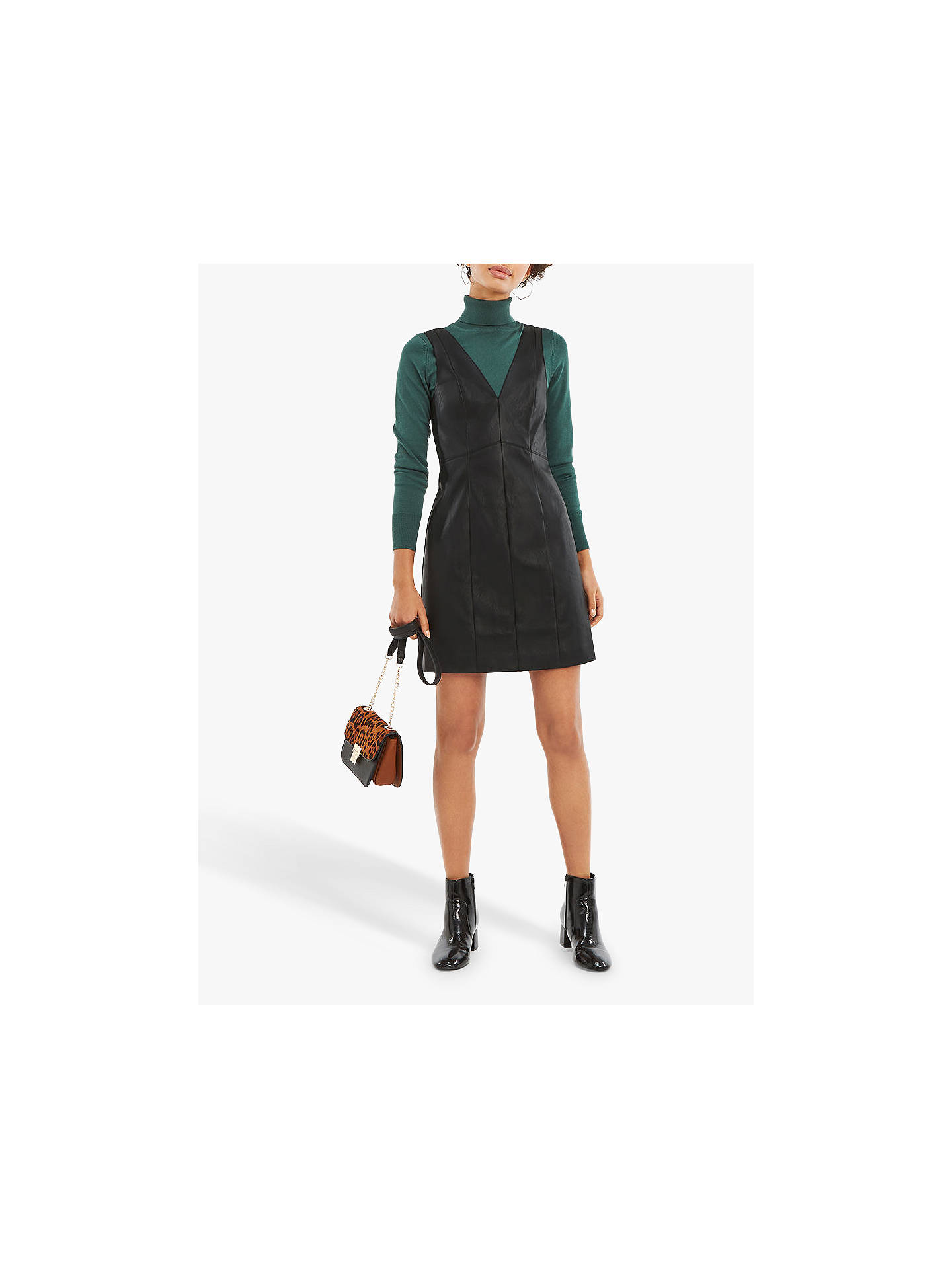 f811634ebbbc ... Buy Oasis Holly Faux Leather Dress, Black, 6 Online at johnlewis.com ...