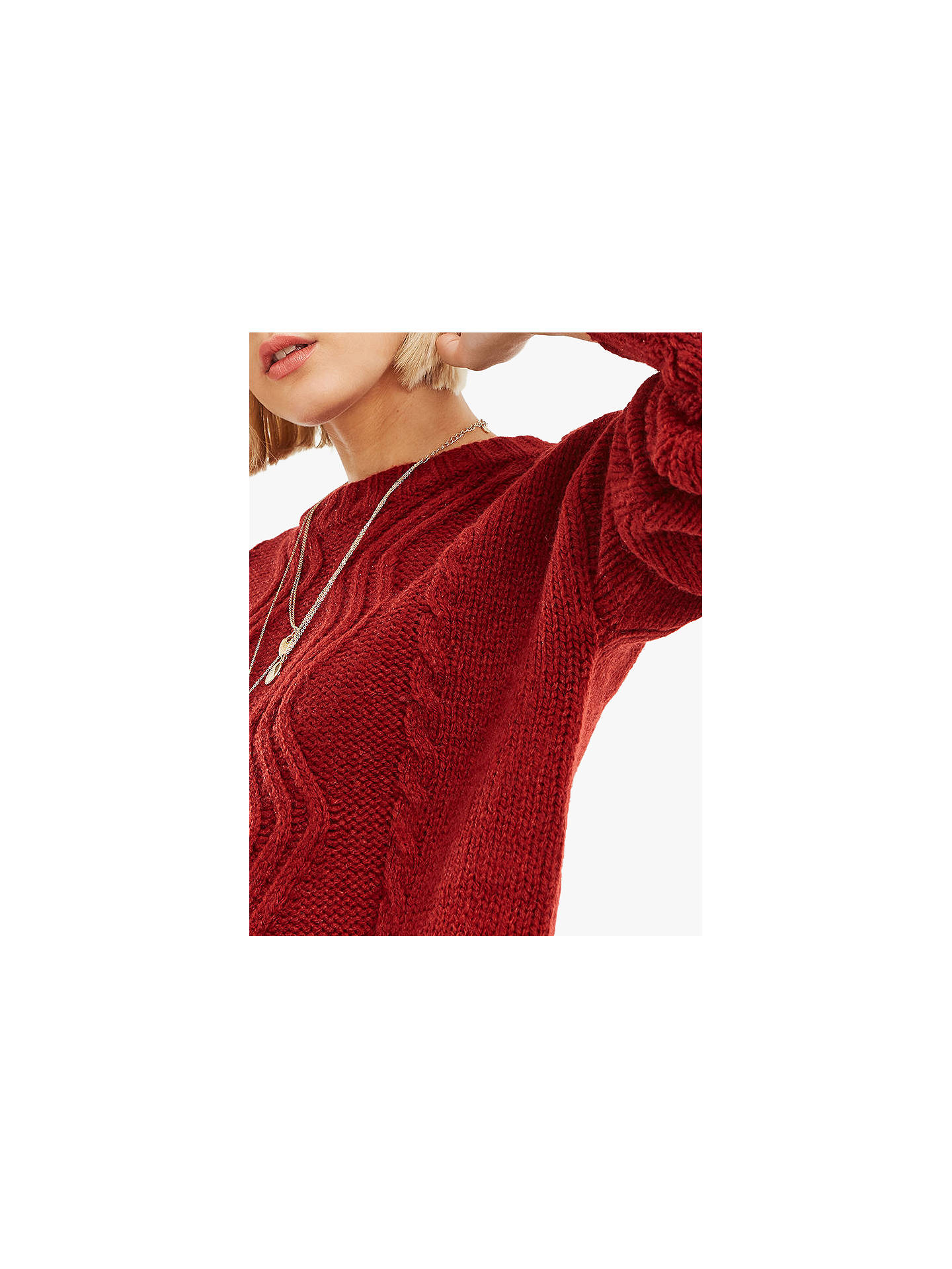 BuyOasis Hayley Cable Knit Jumper, Burgundy, M Online at johnlewis.com