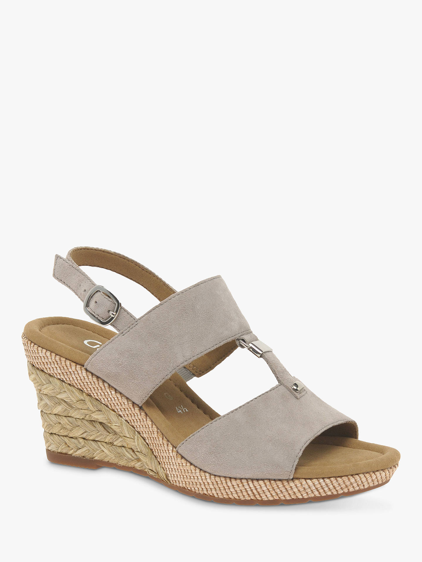 3be41b08b1 Buy Gabor Keira Wide Fit Wedge Sandals, Beige Suede, 3 Online at johnlewis.